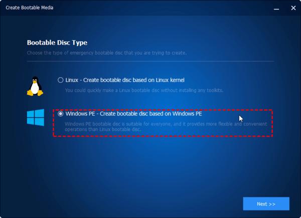 Chọn Loại đĩa khởi động. Chúng tôi khuyên bạn nên chọn Windows PE