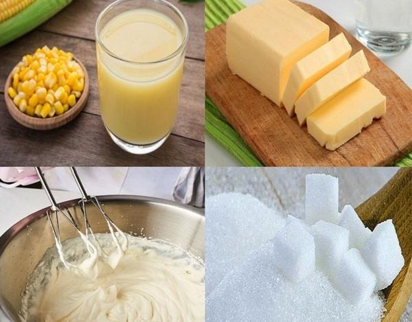 Đối với cách làm bánh kem bắp bạn sẽ cần chuẩn bị các nguyên liệu cho phần cốt bánh và phần kem
