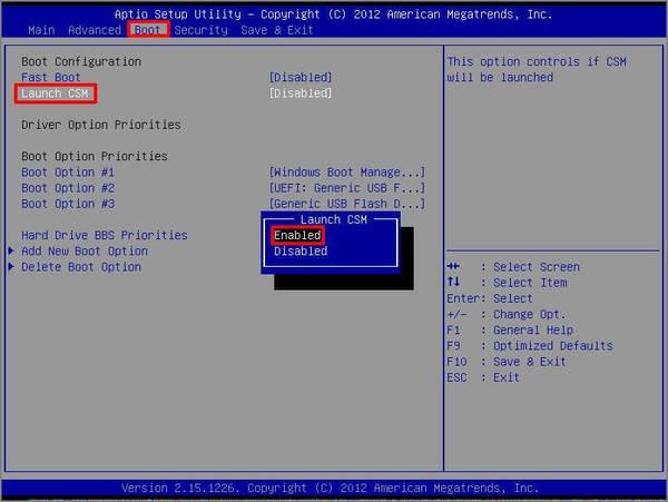 Kích hoạt chế độ khởi động CSM hoặc Legacy, tắt Secure Boot Control và sau đó khởi động lại hệ thống của bạn