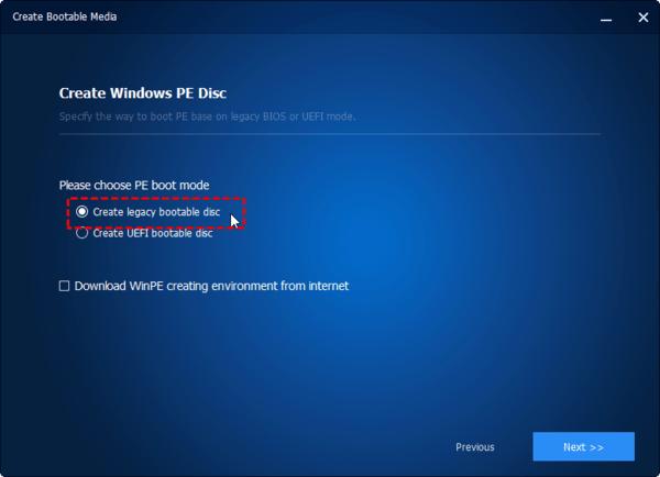 Nếu máy tính của bạn ở chế độ Legacy BIOS (đĩa hệ thống là kiểu phân vùng MBR), bạn có thể đánh dấu vào Create legacy bootable disc.
