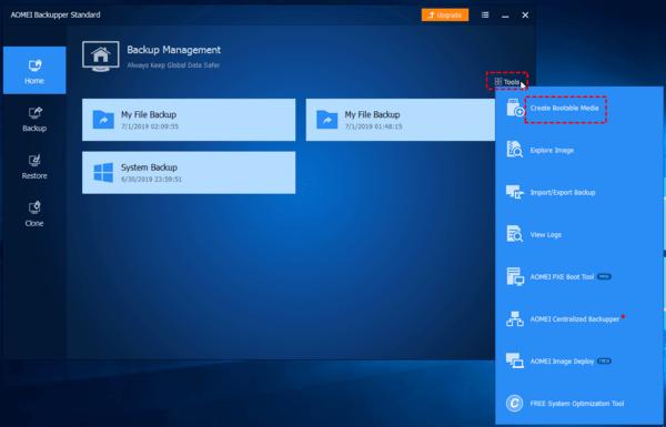 Tải AOMEI Backupper Standard, cài đặt và khởi chạy. Và sau đó, nhấp vào Create Bootable Media trong tab Công cụ.