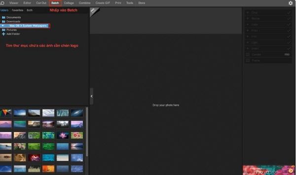 Tìm đến mục bạn muốn resize và chèn logo