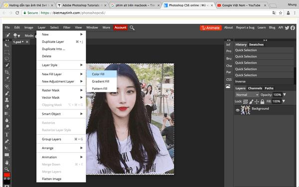 Sau đó chọn Image > New Fill Layer > Solid Color và chọn màu phông nền phù hợp.