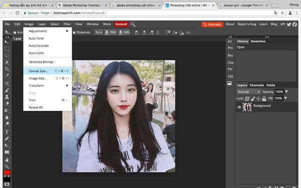 Tiếp theo, bạn cần cắt hình ảnh theo tỷ lệ thích hợp. Trước tiên chọn Image > Canvas size.