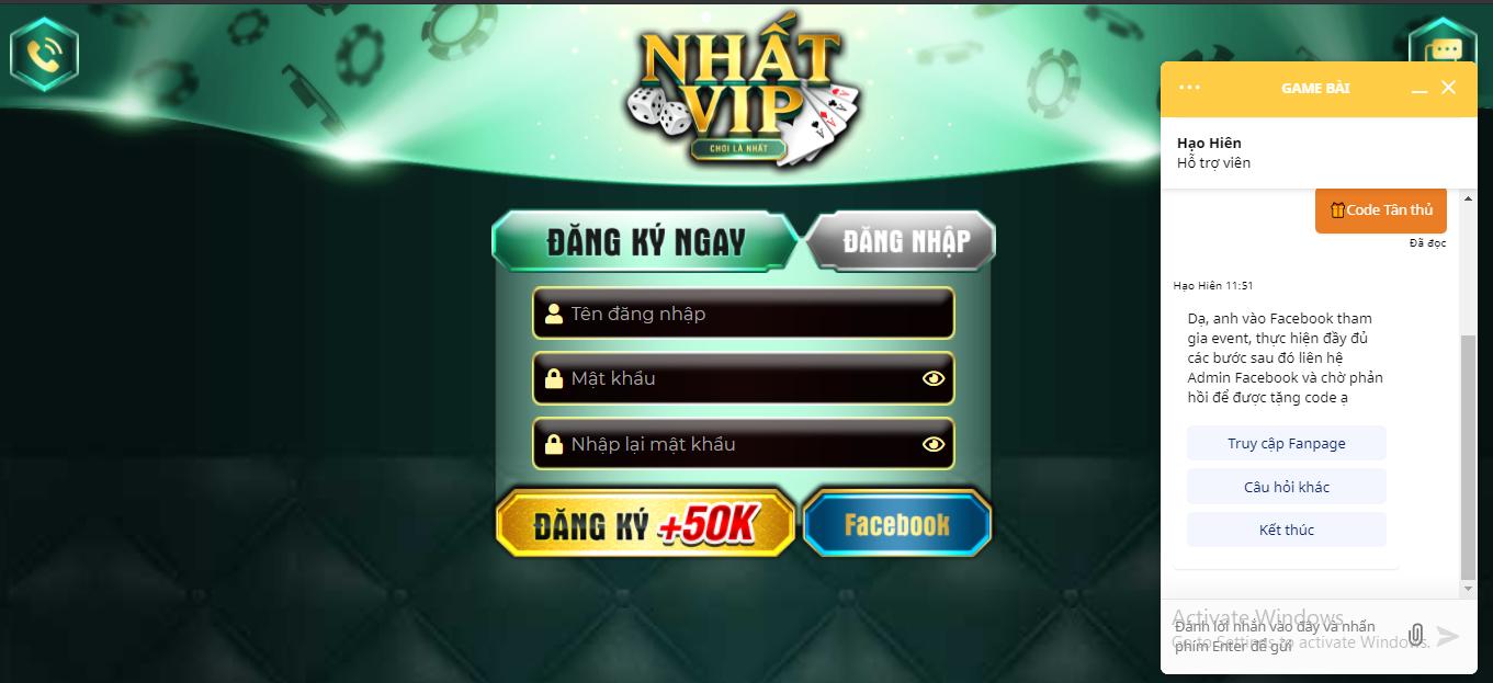 Với giao diện ban đầu của Nhatvip, bạn đã có thể liên hệ với chat box hỗ trợ mọi tin tức liên can tới đăng nhập.